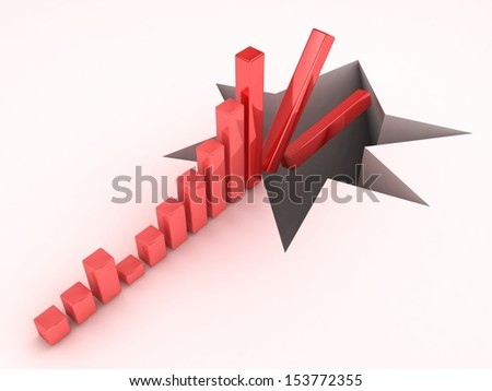 3d business graph falling