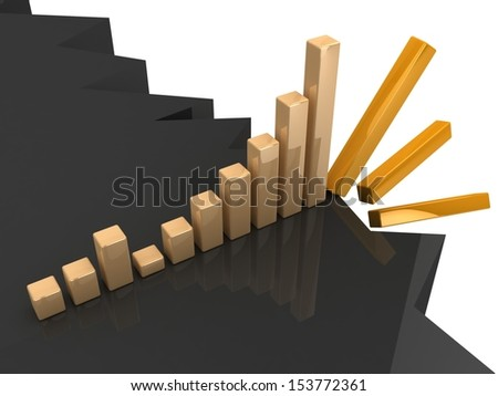 3d business graph falling - stock photo