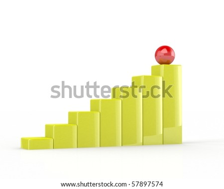 3d business graph,isolated