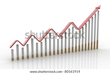 3d Business Graph isolated on white background