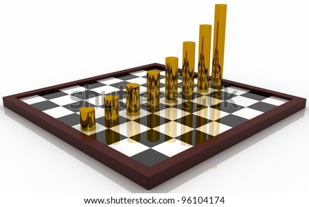 3d business graph on a chess board concept - stock photo
