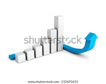 3d business graph with blue arrowon white background. 3d render illustration - stock photo