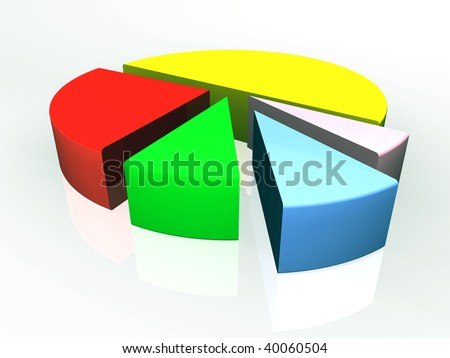 3d business graph with different colored separated segments - stock photo