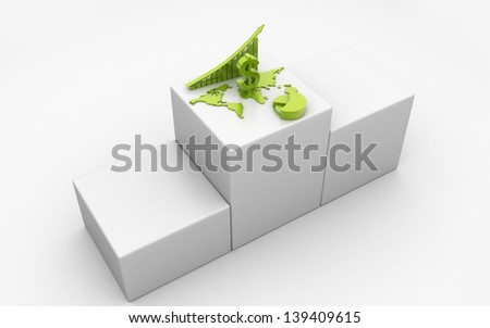 3d  business graph with pie diagram and dollar - stock photo