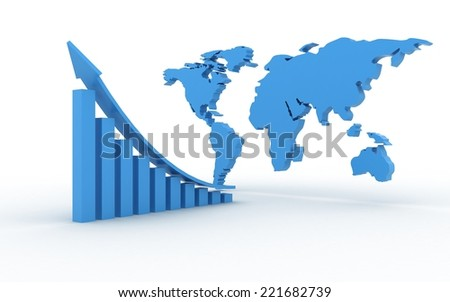 3d business graph with world map - stock photo
