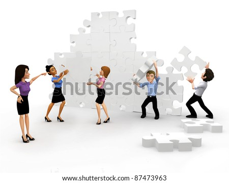 3D Business group assembling the pieces of a puzzle - isolated - stock photo