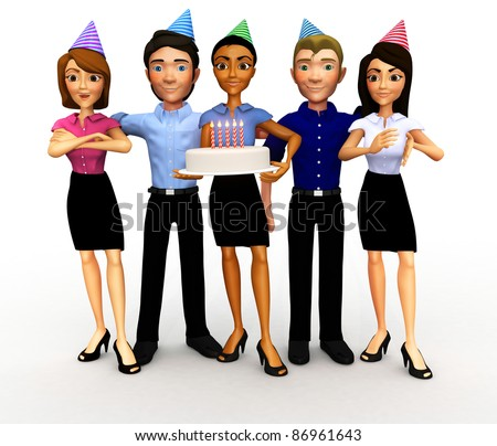 3D Business group celebrating a birthday, anniversary or promotion - isolated - stock photo