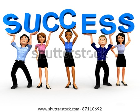 3d Business group holding up a sign of success - isolated over white - stock photo