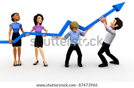 3D business group with an arrow going up isolated - growth concepts - stock photo