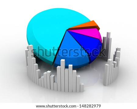 3d business growth graph, pie chart  - stock photo