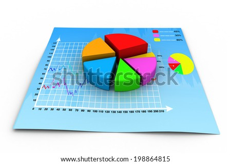 3d business growth  pie graph		 - stock photo