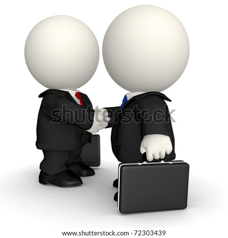 3D Business handshake - isolated over a white background
