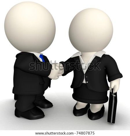 3D Business handshake - isolated over a white background - stock photo