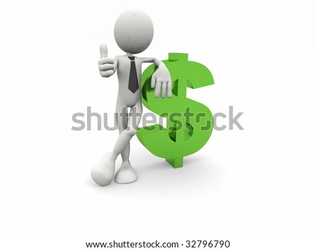 3d business man and the dollar symbol - stock photo