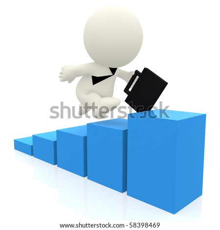 3D business man climbing a blue graph isolated over a white background