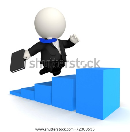 3D Business man climbing up - isolated over white - stock photo