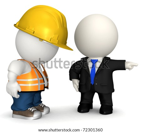 3D Business man firing a road worker  - isolated over a white background - stock photo
