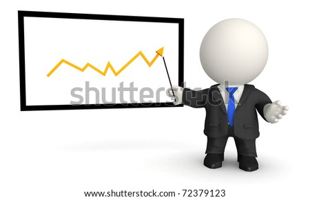 3D business man giving a conference with a growth graph - stock photo