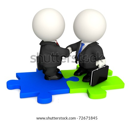 3D Business man handshaking and standing on a puzzle - isolated - stock photo