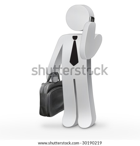 3d business man holding a black suitcase and speaking on mobile phone - stock photo