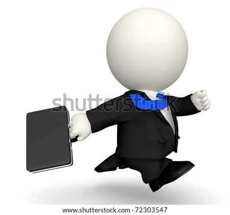3D business man in a rush - isolated over a white background - stock photo