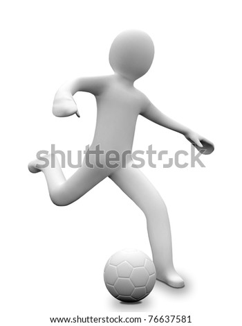 3D business man is playing football - stock photo