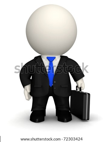 3D Business man - isolated over a white background - stock photo
