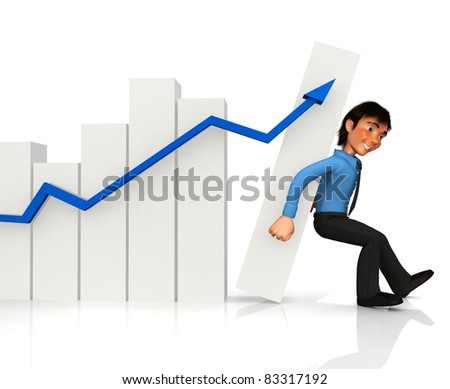 3D business man keeping a growth graph from falling ? isolated over white - stock photo
