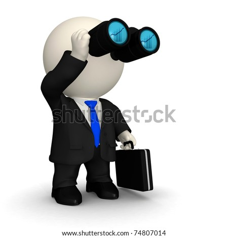 3D business man looking through binoculars at a far distant success - isolated - stock photo
