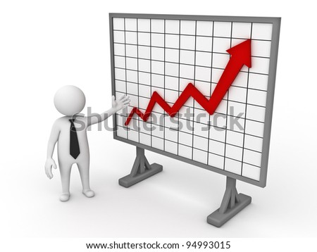 3d business man making a presentation with growth progress red arrow graph chart on white background - stock photo