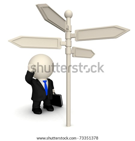 3D business man next to a direction sign wondering which way to take - stock photo