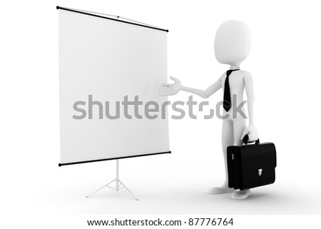 3d business man, on white background - stock photo