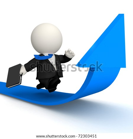 3D Business man racing to achieve growth - isolated over white - stock photo