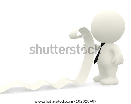 3D business man reading a list - isolated over a white background