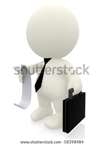 3D business man reading list-bill isolated over a white background