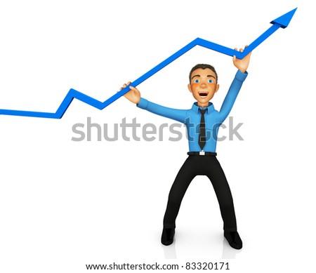 3D business man representing success with an arrow heading up ? isolated over white - stock photo