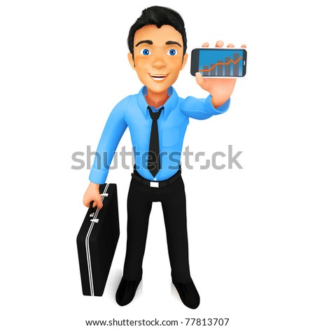 3D business man showing a growth graph on his cell phone - isolated - stock photo