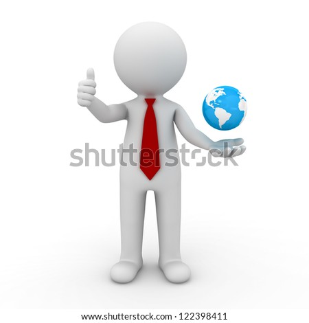 3d business man showing thumbs up with globe in his hand over white background - stock photo