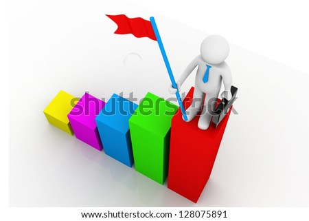 3d business man standing on top of red  progress bar with hold red flags - stock photo