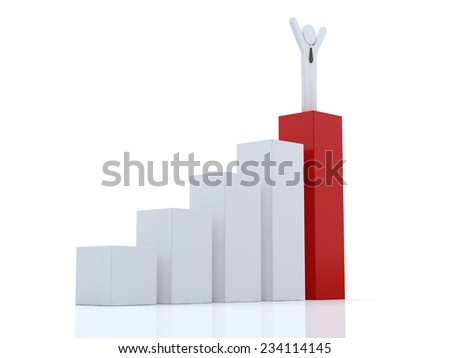 3d business man standing with arms wide open on top of growth business red bar graph  over white background, business concept  - stock photo