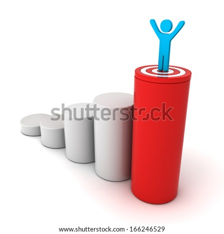 3d business man standing with arms wide open on top of growth business red bar graph with target isolated over white background, business concept - stock photo