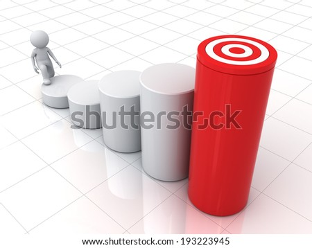3d business man stepping up to his successful goal on top of business graph over white background with reflection - stock photo