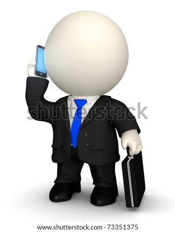 3D Business man talking on his cell phone - isolated over white - stock photo