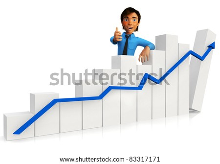 3D business man with a growth graph and thumbs up ? isolated over white - stock photo