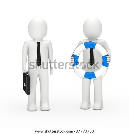 3d business man with briefcase and lifebelt