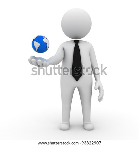 3d business man with earth globe in his hand on white background