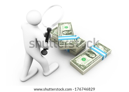 3d business Man with magnifier and dollars. Searching money  - stock photo