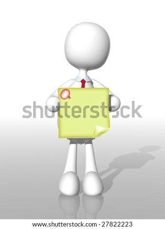 3d business man with sticky note