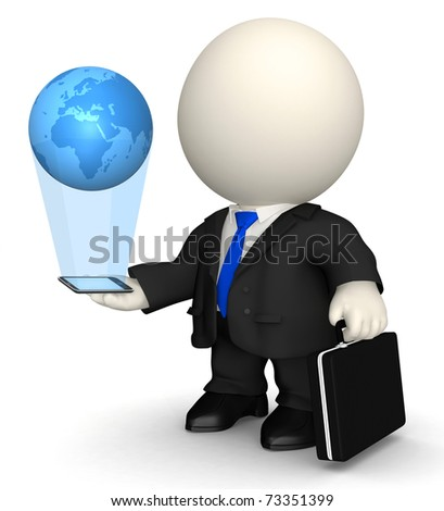 3D business man with world in his hands through his cell phone - stock photo