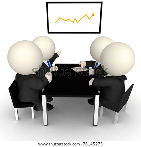 3D Business meeting with a growth graph - isolated over a white background - stock photo